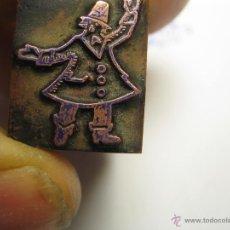 Antigüedades: IMPRENTA GRABADO GALVANO BRONCE-PLOMO - MOTIVO PERSONAJE - TAMAÑO 16X20 MM - REF. BP 7. Lote 47142282