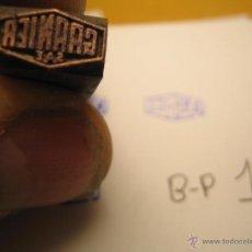 Antigüedades: IMPRENTA GRABADO GALVANO BRONCE-PLOMO - MOTIVO GARNIER - TAMAÑO 11X6 MM - REF. BP 12. Lote 47142660