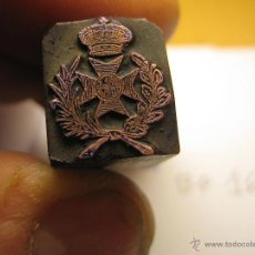 Antigüedades: IMPRENTA GRABADO GALVANO BRONCE-PLOMO - MOTIVO ESCUDO - TAMAÑO 16X14 MM - REF. BP 16. Lote 47142790