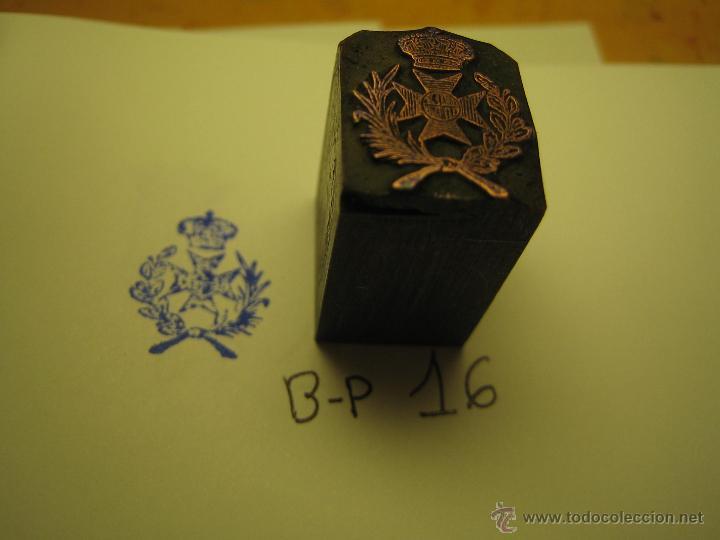 Antigüedades: IMPRENTA GRABADO GALVANO BRONCE-PLOMO - MOTIVO ESCUDO - TAMAÑO 16X14 MM - REF. BP 16 - Foto 3 - 47142790