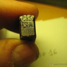 Antigüedades: IMPRENTA GRABADO GALVANO BRONCE-PLOMO - MOTIVO ESCUDO - TAMAÑO 13X8 MM - REF. BP 17. Lote 47142835