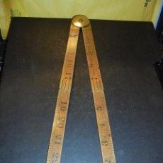 Antigüedades: ANTIGUA REGLA DE MADERA Y BRONCE - RABONE Nº 1165 MADE IN ENGLAND WARRANTEDBOXOOD . Lote 47184720