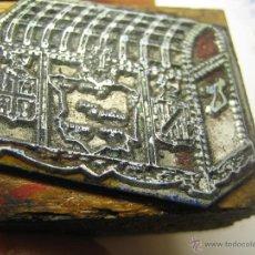 Antigüedades: IMPRENTA, GRABADO DE METAL MONTADO EN MADERA PARA PODER IMPRIMIR -REF. G-66 MEDIDAS EN FOTO. Lote 47342629