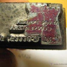 Antigüedades: IMPRENTA, GRABADO DE METAL MONTADO EN MADERA PARA PODER IMPRIMIR -REF. G-72 MEDIDAS EN FOTO. Lote 47342814
