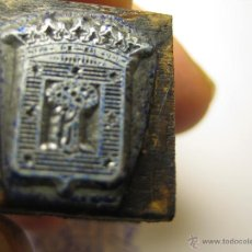 Antigüedades: IMPRENTA, GRABADO DE METAL MONTADO EN MADERA PARA PODER IMPRIMIR -REF. G-75 MEDIDAS EN FOTO. Lote 47342839