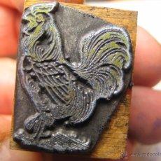 Antigüedades: IMPRENTA, GRABADO DE METAL MONTADO EN MADERA PARA PODER IMPRIMIR -REF. G-101 MEDIDAS EN FOTO. Lote 47343934