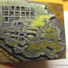 Antigüedades: IMPRENTA, GRABADO DE METAL MONTADO EN MADERA PARA PODER IMPRIMIR -REF. G-113 MEDIDAS EN FOTO. Lote 47344846
