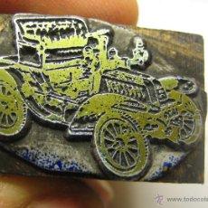 Antigüedades: IMPRENTA, GRABADO DE METAL MONTADO EN MADERA PARA PODER IMPRIMIR -REF. G-118 MEDIDAS EN FOTO. Lote 47344985