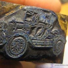 Antigüedades: IMPRENTA, GRABADO DE METAL MONTADO EN MADERA PARA PODER IMPRIMIR -REF. G-120 MEDIDAS EN FOTO. Lote 47345102