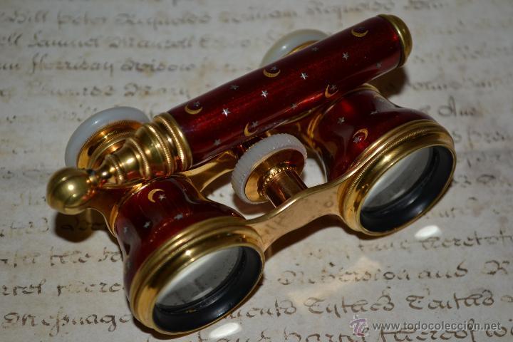 Antigüedades: ESPECTACULARES PRISMATICOS CON MANGO EXTENSIBLE DE ESMALTE Y NACAR, S. XIX - Foto 6 - 47382077