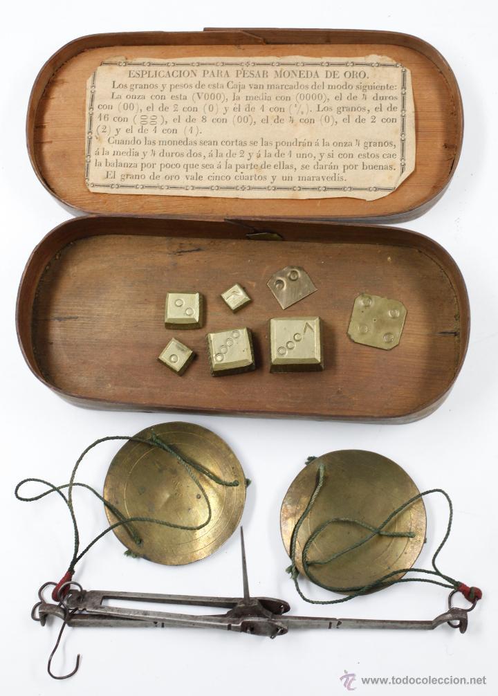 BALANZAS DEL SIGLO XIX EN ESTUCHE 15,5 CM DE LARGO, VER FOTOS ANEXAS. (Antigüedades - Técnicas - Medidas de Peso - Balanzas Antiguas)