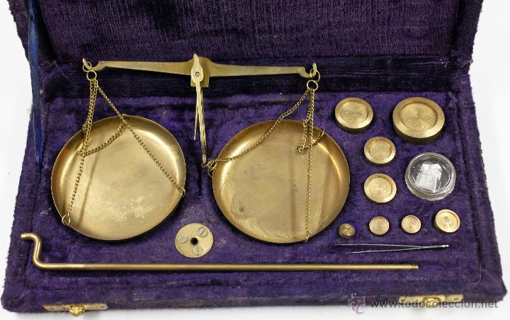 Antigüedades: Balanzas antiguas en estuche original 13x25 cm. s.XIX - Foto 2 - 47466212