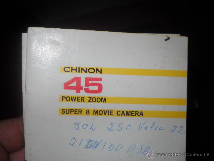 Antigüedades: TOMAVISTAS DE CINE SUPER 8, MARCA CHINON 45 AUTO ZOOM DE CARTUCHO.FUNCIONA.CON SU ESTUCHE Y PAPELES. - Foto 7 - 47524079