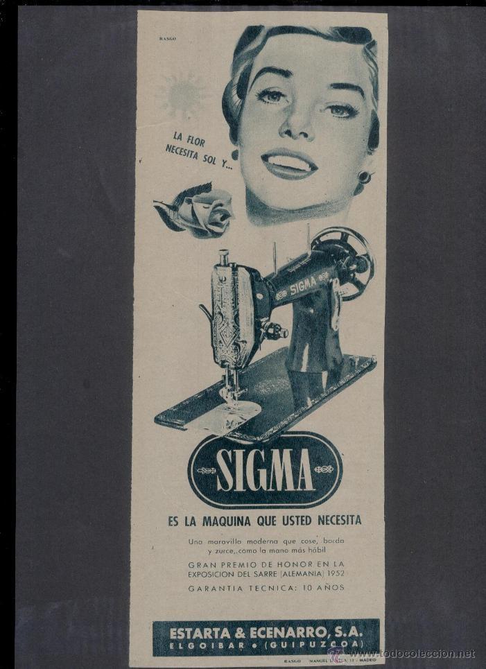 ANUNCIO **MÁQUINAS DE COSER SIGMA** (1954) - ESTARTA & ECENARRO S.A. (ELGOIBAR - GUIPUZCOA) (Antigüedades - Técnicas - Máquinas de Coser Antiguas - Sigma)