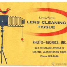 Antigüedades: PAPEL PARA LENTES - LENS CLEANING TISSUE. Lote 47980672