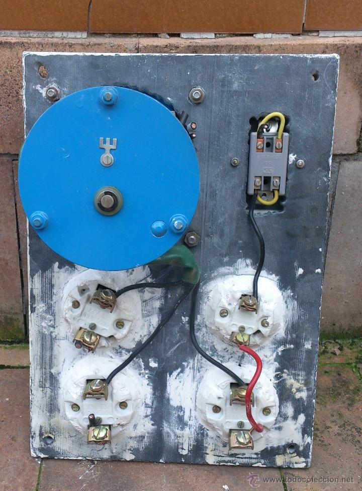 Antigüedades: antiguo cuadro electrico entrada vivienda 4 plomos - manivela - Foto 4 - 48001233