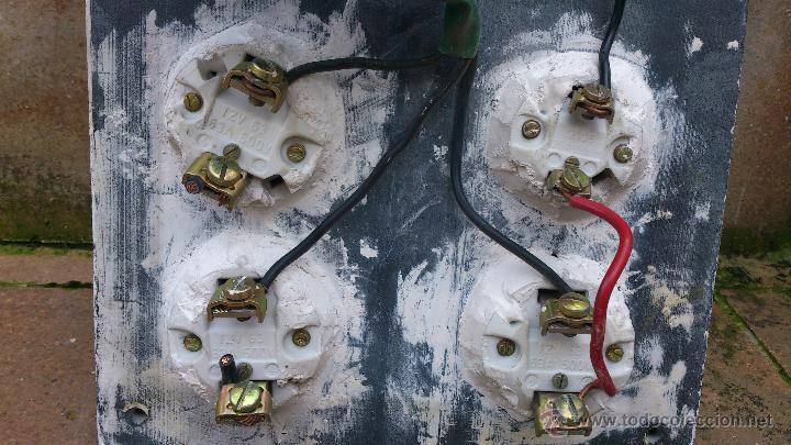 Antigüedades: antiguo cuadro electrico entrada vivienda 4 plomos - manivela - Foto 7 - 48001233