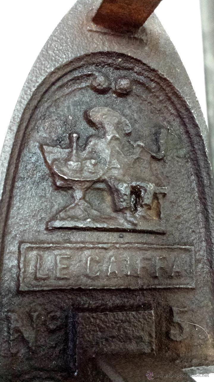 Antigüedades: ANTIGUA PLANCHA DE HIERRO COLECCIONISMO. DE ORIGEN FRANCES, CON BUEN GRABADO Y DETALLES. VER - Foto 3 - 48110092