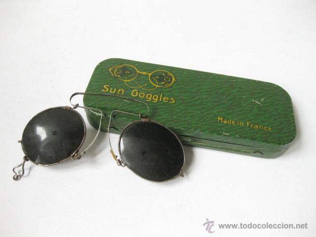 GAFAS ANTIGUAS DE SOL PARA NARIZ EN SU CAJA DE LATA SUNGOGGLES. MADE IN FRANCE (Antigüedades - Técnicas - Instrumentos Ópticos - Gafas Antiguas)