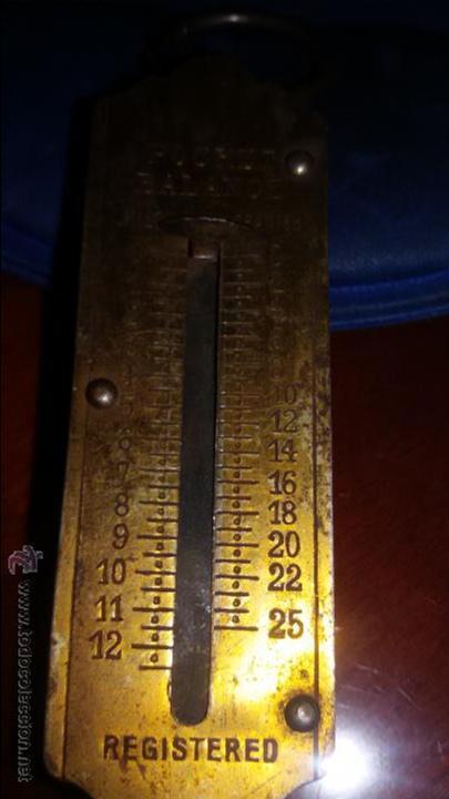 Antigüedades: BALANZA ANTIGUA POCKET DE BOLSILLO . FRONTAL DE LATON 12 KILOS DE PESO - Foto 5 - 48289353