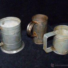 Antigüedades: LOTE DE 3 ANTIGUAS MEDIDAS PARA LIQUIDOS. SIN MARCAS. ESPAÑA AÑOS 30-40. Lote 48392827