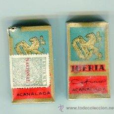 Antigüedades: 2 CAJAS CON 10 HOJAS DE AFEITAR CADA UNA IBERIA ACANALADA CON SELLO DE IMPUESTOS 1,50 PESETAS HOJA. Lote 48518821