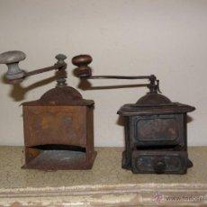 Antigüedades: LOTE 2 MOLINILLOS DE CAFE METALICOS ANTIGUOS PARA DECORACION. Lote 48634284
