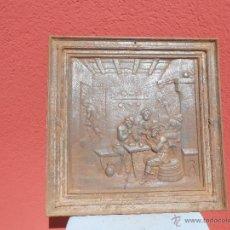 Antigüedades: ANTIGUA PLACA DE HIERRO PARA CHIMENEA. ESCENA DE FUMADORES EN UNA TABERNA. Lote 48738722
