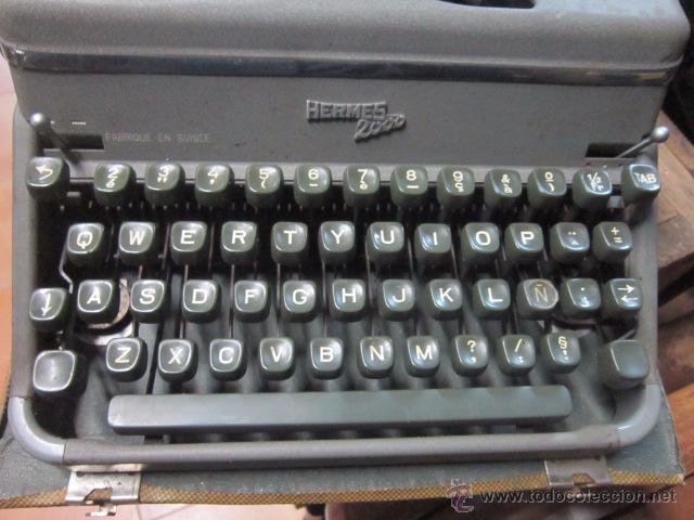Antigüedades: Maquina de escribir Hermes 2000 en su caja. - Foto 6 - 27373142