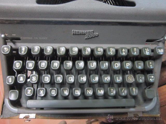 Antigüedades: Maquina de escribir Hermes 2000 en su caja. - Foto 7 - 27373142