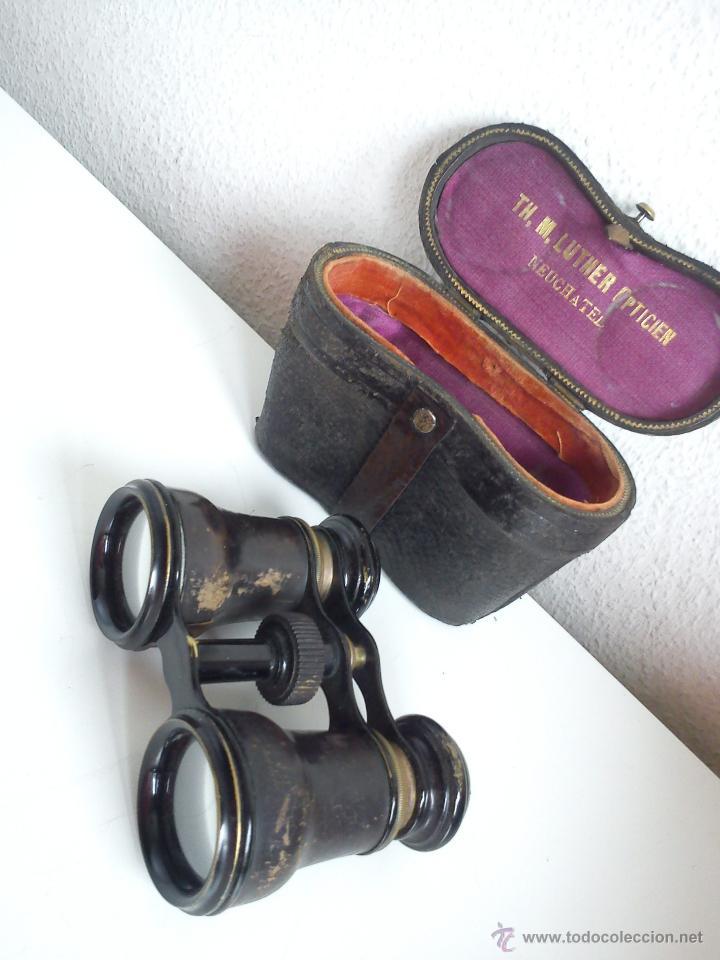 ANTIGUIOS Y MAGNIFICOS BINOCULOS PARA COLECION SELADO TH,M,LUTHER,OPTICIEN NEUCHATEL ANOS 50,60 (Antigüedades - Técnicas - Instrumentos Ópticos - Binoculares Antiguos)