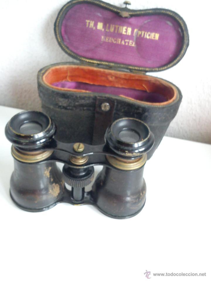 Antigüedades: ANTIGUIOS Y MAGNIFICOS BINOCULOS PARA COLECION SELADO TH,M,LUTHER,OPTICIEN NEUCHATEL ANOS 50,60 - Foto 2 - 48758156