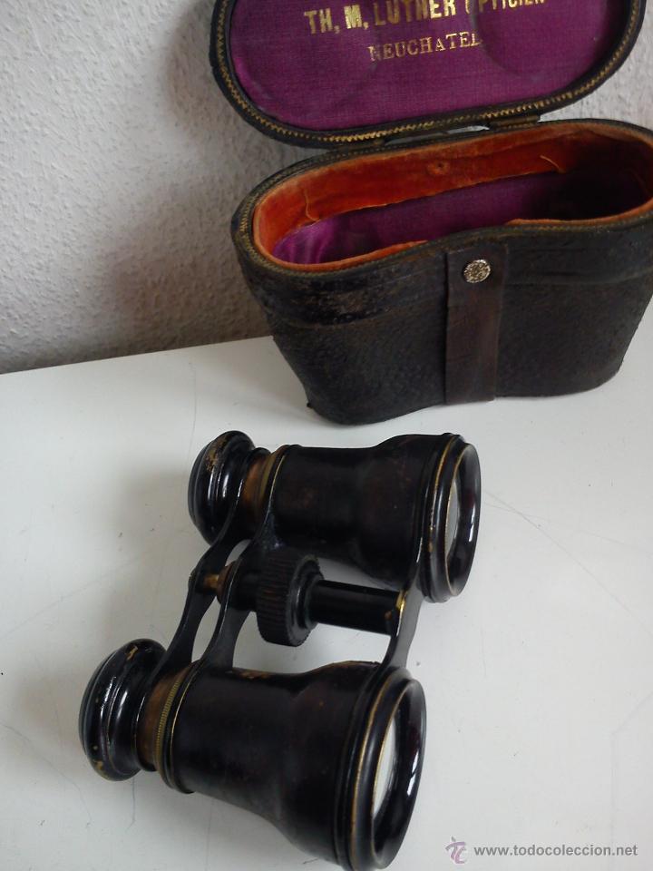 Antigüedades: ANTIGUIOS Y MAGNIFICOS BINOCULOS PARA COLECION SELADO TH,M,LUTHER,OPTICIEN NEUCHATEL ANOS 50,60 - Foto 3 - 48758156