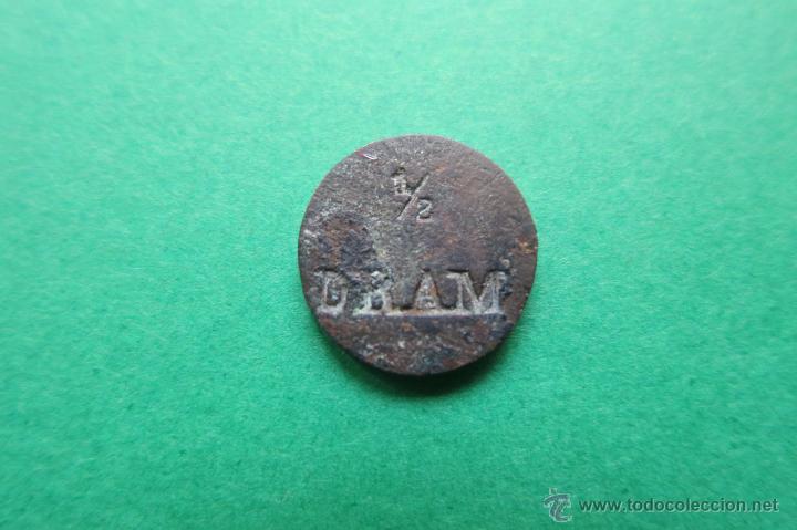 PONDERAL DE 1/2 DRAM FARMACEUTICO (Antigüedades - Técnicas - Medidas de Peso - Ponderales Antiguos)