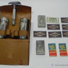 Antigüedades: ESTUCHE DE AFEITAR MARCA BETER, CONTIENE 10 CUCHILLAS (MARAVILLA, ILKA, IBERIA), CONTIENE TODO LO QU. Lote 48866242