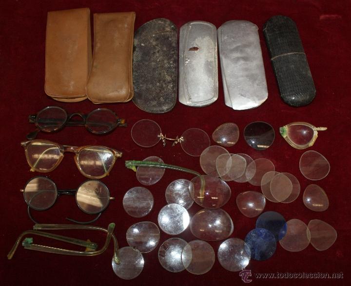 LOTE DE VARIAS GAFAS, ESTUCHES, CRISTALES... ETC TODO ANTIGUO (Antigüedades - Técnicas - Otros Instrumentos Ópticos Antiguos)