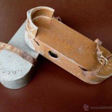 Antigüedades: ANTIGUAS PLATAFORMAS DE HIERRO CON PESOS. Lote 48942690