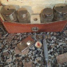 Antigüedades: ANTIGUO ESTUCHE DE VIAJE ASEO Y MAQUINILLA DE AFEITAR MARAVILLA CON 6 PIEZAS. Lote 48970311