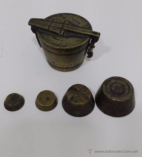 Antigüedades: ANTIGUOS PONDERALES PARA PESAR ORO O MONEDAS DE CAMBIO - SIGLO XVIII - Foto 3 - 49082140
