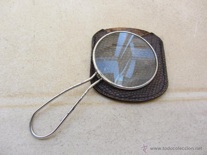 ANTIGUA LUPA PLEGABLE CON FUNDA DE PIEL (Antigüedades - Técnicas - Instrumentos Ópticos - Lupas Antiguas)