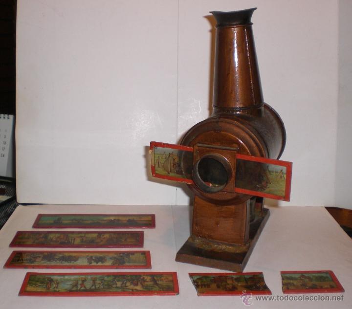 ANTIGUA LINTERNA MÁGICA PARA VER CINE. S.XIX. CON 5 CRISTALES PINTADOS A MANO (Antigüedades - Técnicas - Aparatos de Cine Antiguo - Linternas Mágicas Antiguas)