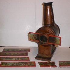 Antigüedades: ANTIGUA LINTERNA MÁGICA PARA VER CINE. S.XIX. CON 5 CRISTALES PINTADOS A MANO. Lote 49181483