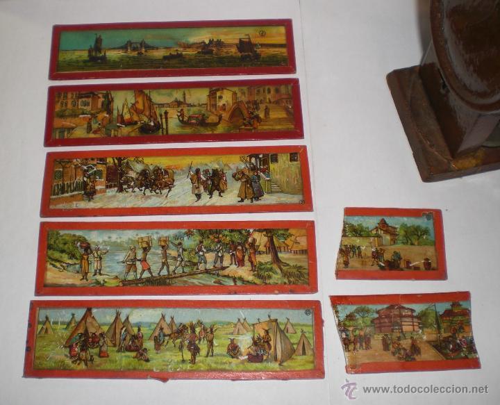 Antigüedades: Antigua Linterna Mágica para ver cine. S.XIX. Con 5 cristales pintados a mano - Foto 6 - 49181483