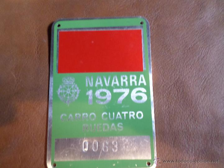 MATRICULA DE CARRO NAVARRA 1976 (Antigüedades - Antigüedades Técnicas - Marinas y Navales)