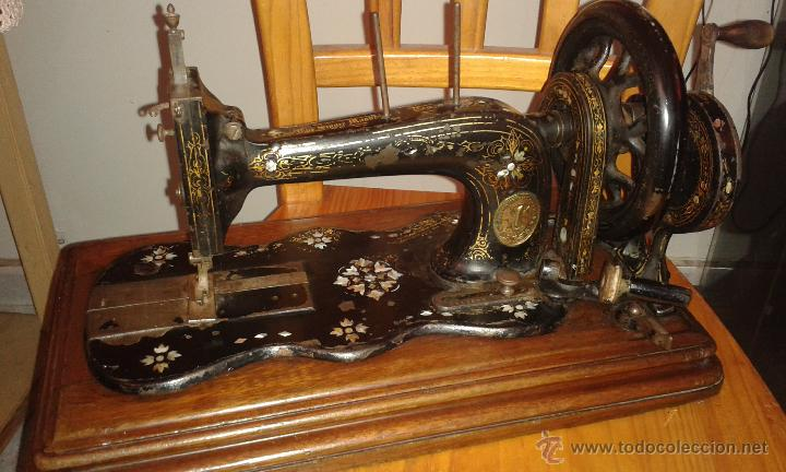 MAQUINA COSER SINGER DE VIOLIN CON INCRUSTACIONES DE NACAR (Antigüedades - Técnicas - Máquinas de Coser Antiguas - Singer)