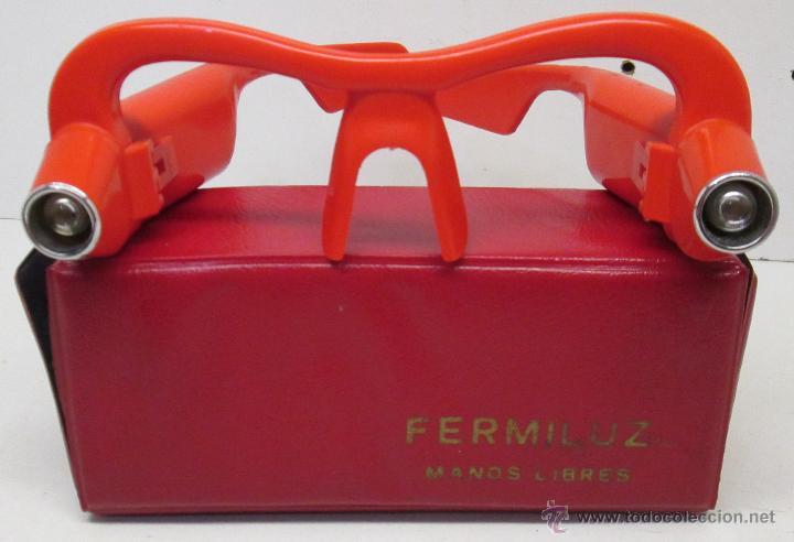 Antigüedades: FERMILUZ Curiosas gafas con luz para trabajos manos libres año 1970 - Foto 2 - 263299140