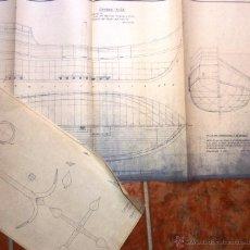 Antigüedades: 3 PLANO CARABELA NIÑA BARCO VELAMEN REZON LONGITUDINAL Y FORMAS ARCHIVO NICOLAU . 1963 DIB. JAEN. Lote 49533712