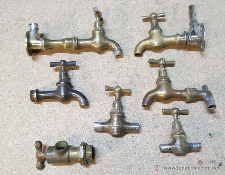 Lote 7 grifos y llaves de paso de cobre o bronc comprar for Grifos de cobre