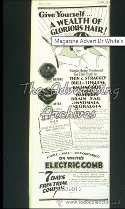 Antigüedades: ANTIGUO Y RARISIMO DISPOSITIVO PSEUDO MEDICO ELECTRICO - WHITES ELECTRIC COMB INGLATERRA 1.920 - Foto 6 - 49693930