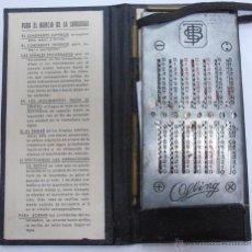 Antigüedades: S33 CALCULADORA CON MANUAL Y ESTUCHE BUZZANCA. BARCELONA. 15 CM X 7 CM. AÑOS 20. Lote 49758324